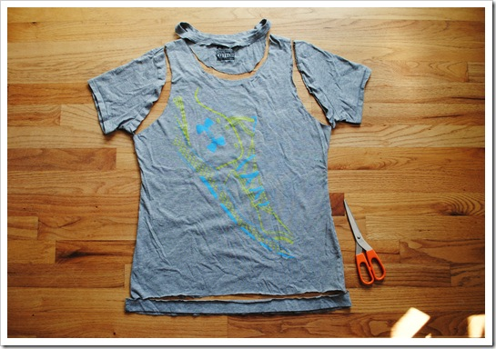 DIY Workout Tank Top-- Step 2: Cut around sleeves and neck