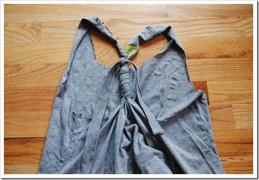 DIY Workout Tank Top-- Step 4: Gather back using cut fabric