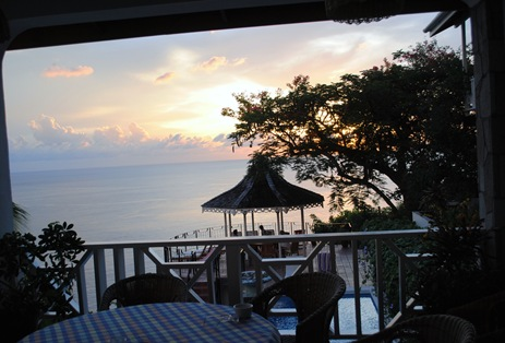 the gazebo during sunset at le gallerie st. lucia