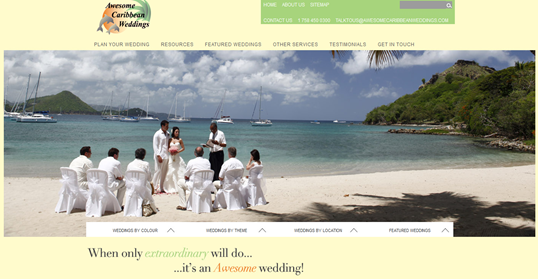 Awesome caribbean weddings home page screen capture