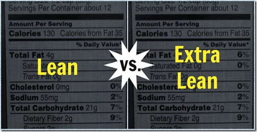 lean vs extra lean food label