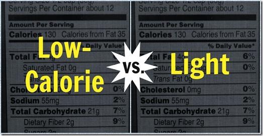 Low calorie vs. light food label