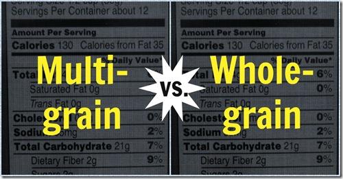 Multi grain vs whole grain food label