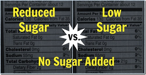 reduced low and no sugar added food labels
