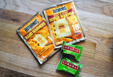HotHands warmers and Larabars