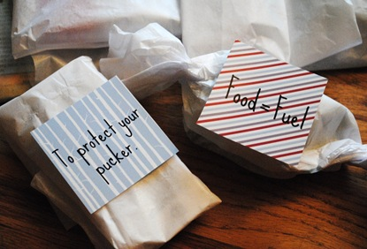 For the love of running gift bag: label ideas