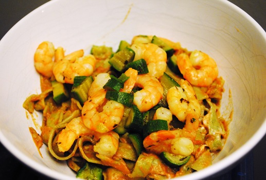 Chia seed pasta with shrimp zucchini laughing cow cheese and pasta sauce