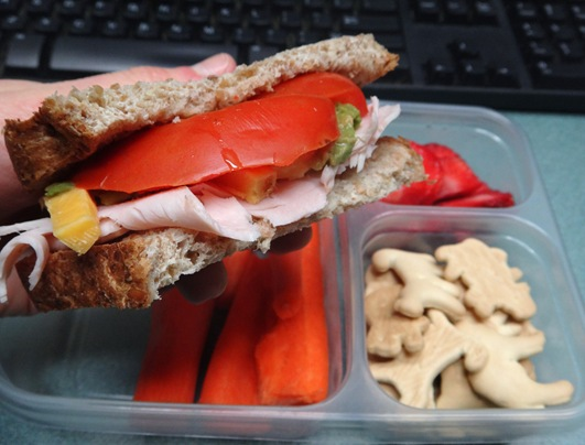 packed lunch idea turkey sandwich with avocado tomato and cheddar carrot strawberries animal crackers
