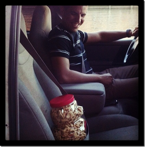Z in truck with animal crackers