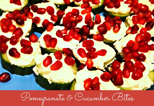 cucumber and pomegrante bites
