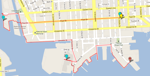 Fells Point to Harbor East running route