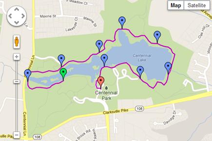 Centennial Lake running route