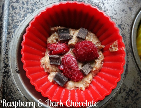 Raspberry and dark chocolate almond muffins