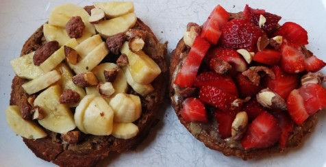 FODMAP Friendly Waffles with nut butter strawberries and bananas