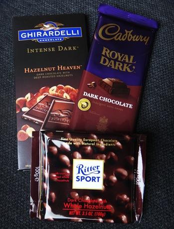 Ghiradelli, Cadbury and Ritter Dark chocolate with hazelnut