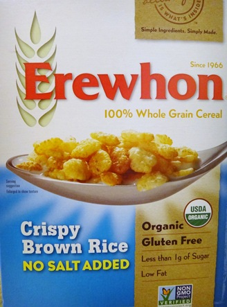 Erewhorn 100% Whole Grain Brown Rice Cereal
