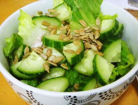 Romaine cucumber and sunflower seed salad