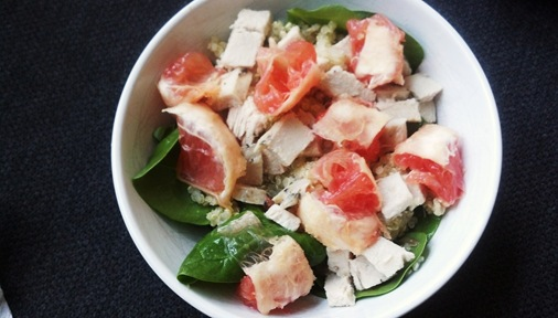 Spinach Salad with Turkey, Grapefruit and Quinoa