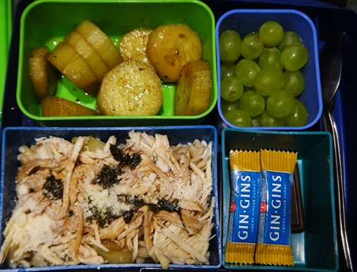 Rice pasta with chicken, cucumbers, grapes, ginger chews