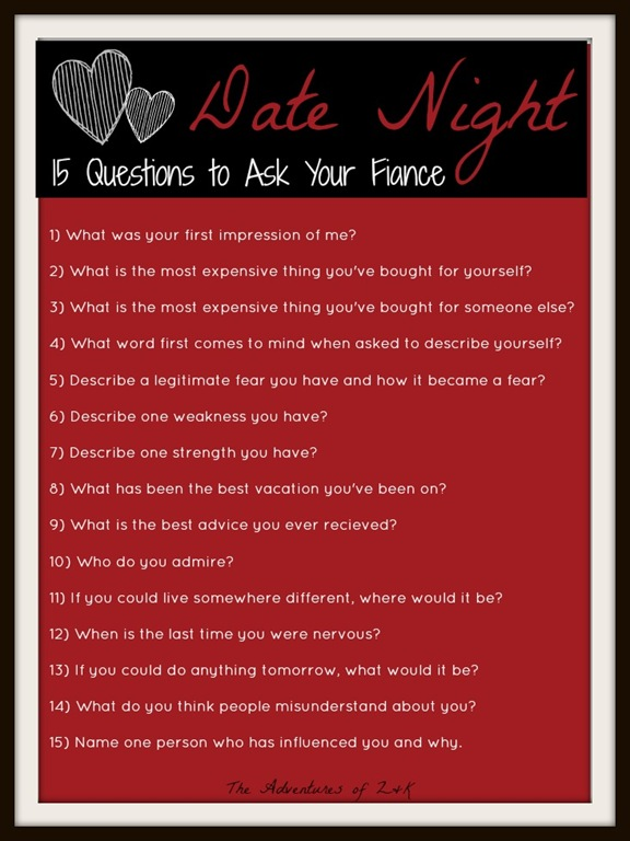 deeper dating questions After years of marriage, it's easy to get comfortable and stop striving to know each other let these date night questions for christian married couples help you liven things up.