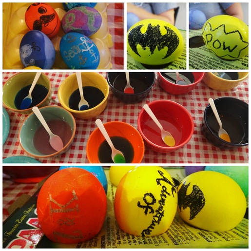 Easter eggs with designs batman logo natty boh z and k