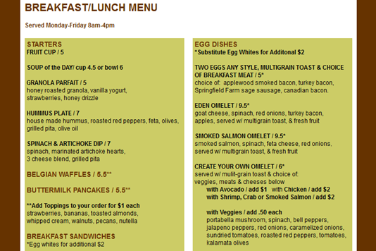 Teavolve Breakfast Menu