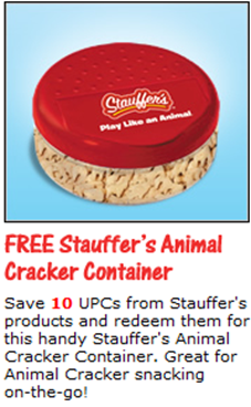 Stauffers free stuff animal cracker container