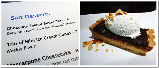 Sat Dessert Menu and Chocolate Peanut Butter Tart