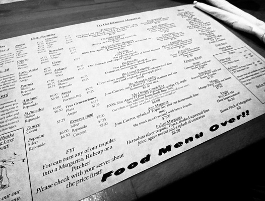 Nacho Mamas Drink Menu