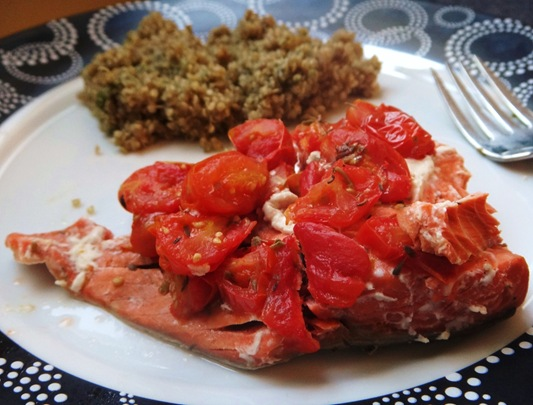 Salmon Baked in Foil Packet topped with tomato and lemon juice with balsamic basil quinoa