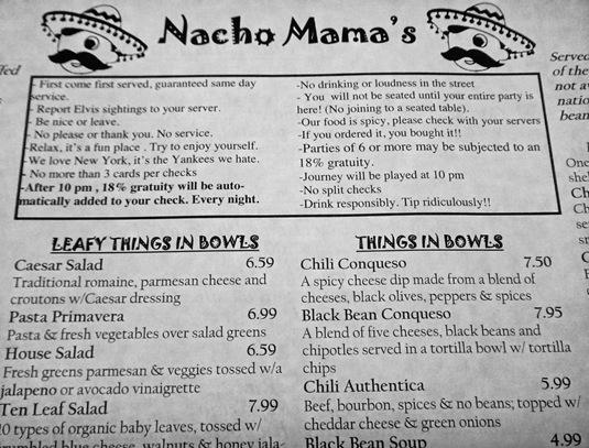Nacho Mamas Food Menu