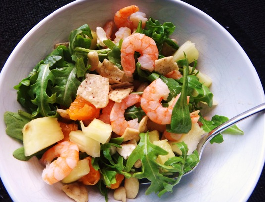 asian salad with shrimp arugula pineapple clementine