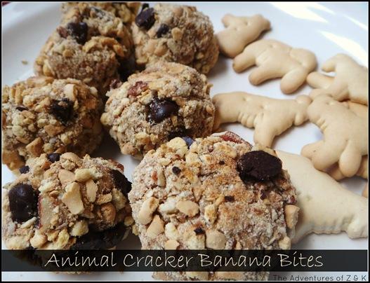 Animal Cracker Banana Bites -- The Adventures of Z and K