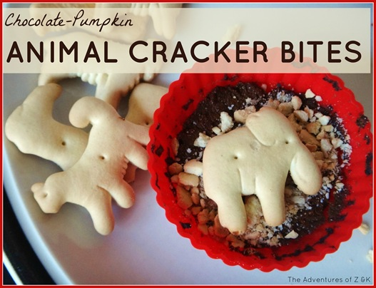 Chocolate Pumpkin Animal Cracker Bites