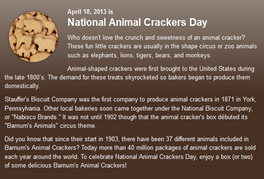 National Animal Crackers Day History