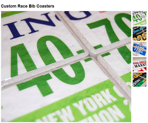 Mile Stones Custom Race Bib Coasters from Etsy