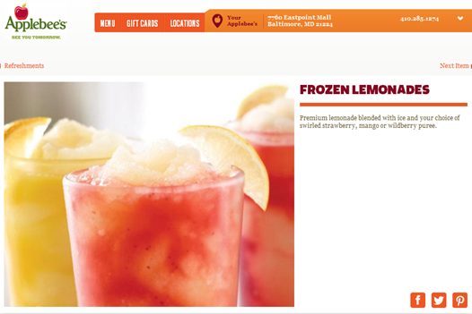 Applebees Frozen Lemonade