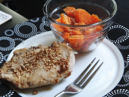 Maple Peanut Sesame Chicken with boiled thyme sesame carrots
