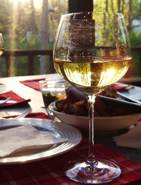 Picture of glass of wine on porch