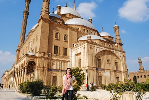 K in front of mosque in Cairo Egypt