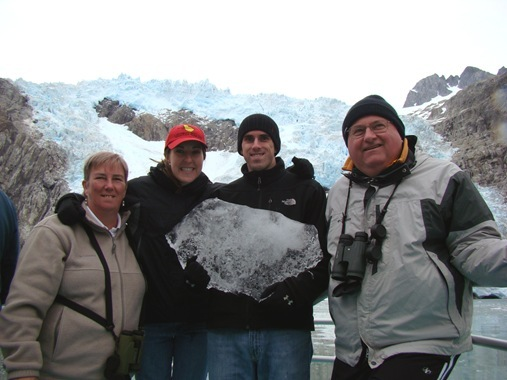 K and Fam in front of glacier in Alaska