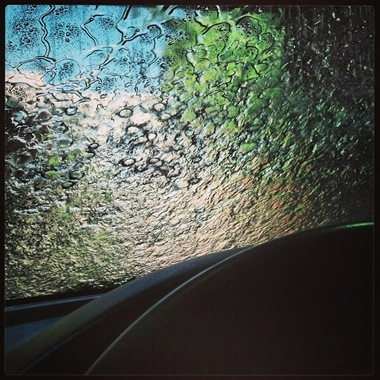 Car wash view from inside of car
