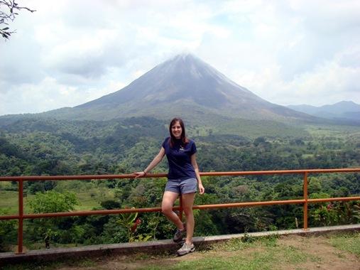 K in Costa Rica in front of Arenal volcano