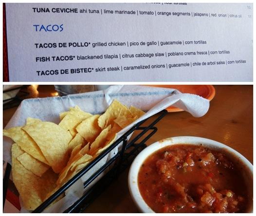 La Puerta Azul- Menu and chips