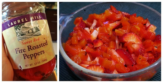 Strawberry Salsa ingredients- roasted red pepper