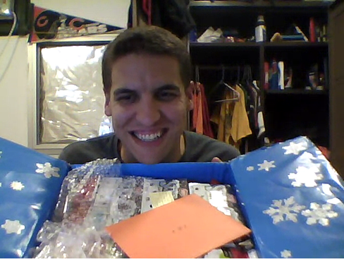 Z with Care Package over Skype on deployment to Egypt