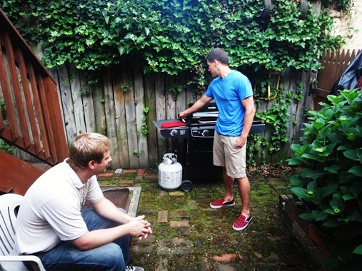 Z and Travis grilling