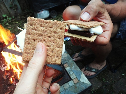 Smore over backyard firepit