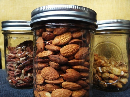 Mason jars as storage containers for nuts