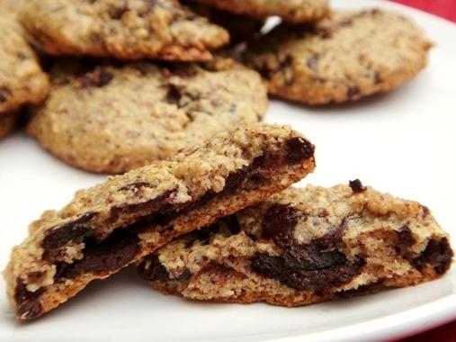 Paleo chocolate chip cookie inside